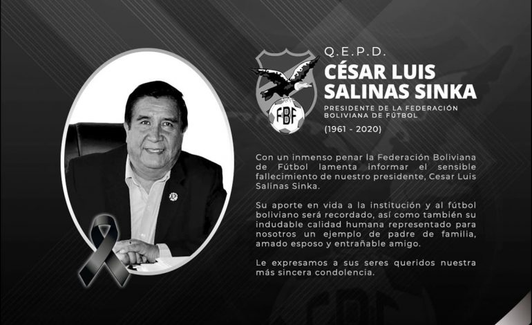 Fallece presidente de la Federación Boliviana de Fútbol que había sido diagnosticado con COVID-19